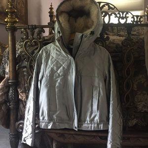 Silver fur hooded jacket